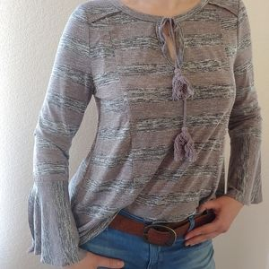 Entro Anthropologie bell sleeves top